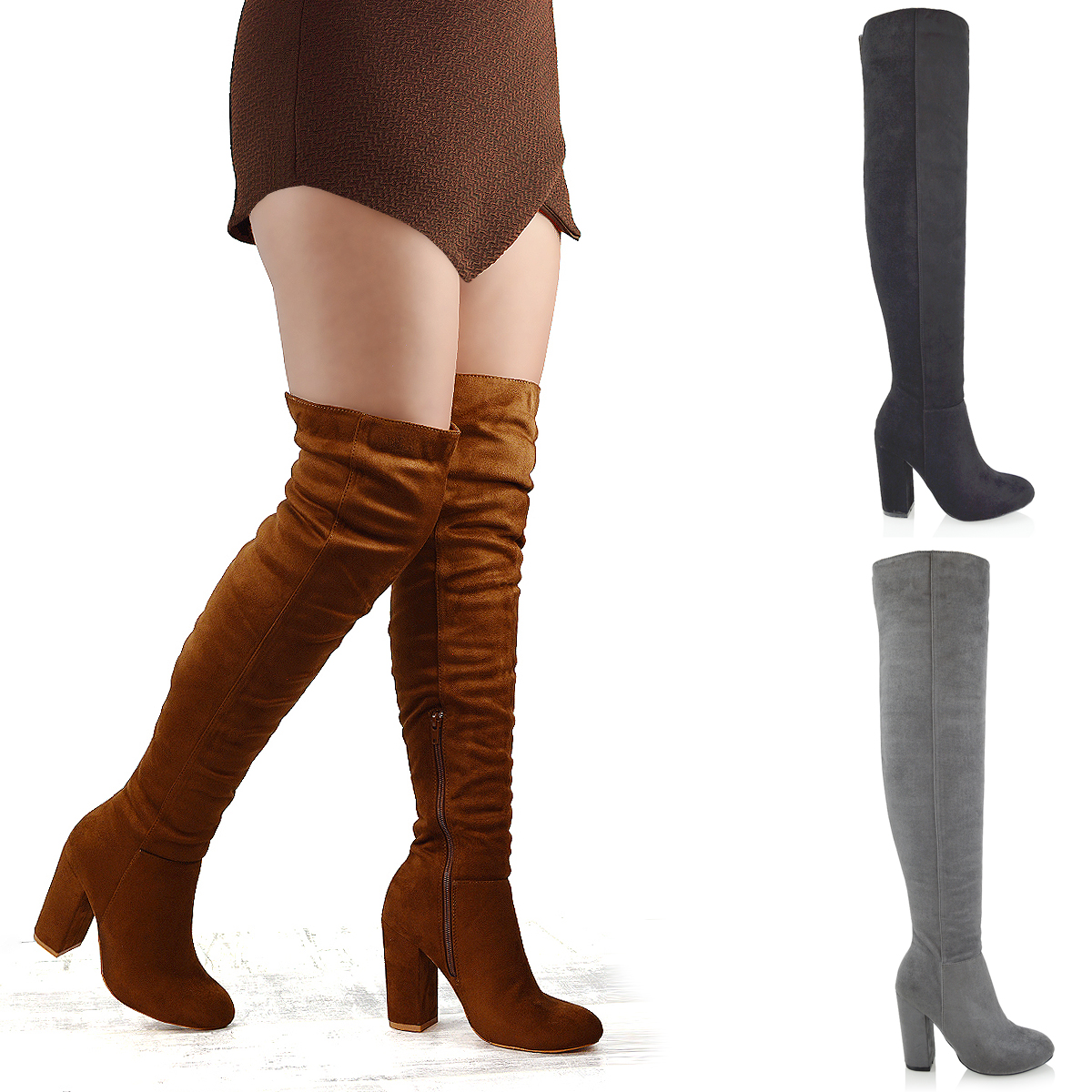 08473ab1522 Details about Womens Over The Knee High Block Heel Ladies Long Cut Out  Thigh High Boots 3-8