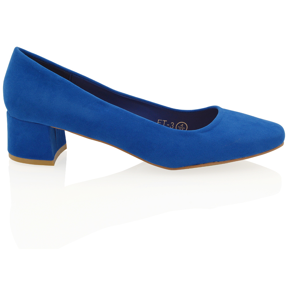 fed288652b Details about New Womens Low Mid Block Heel Slip On Ladies Casual Party  Pumps Court Shoes