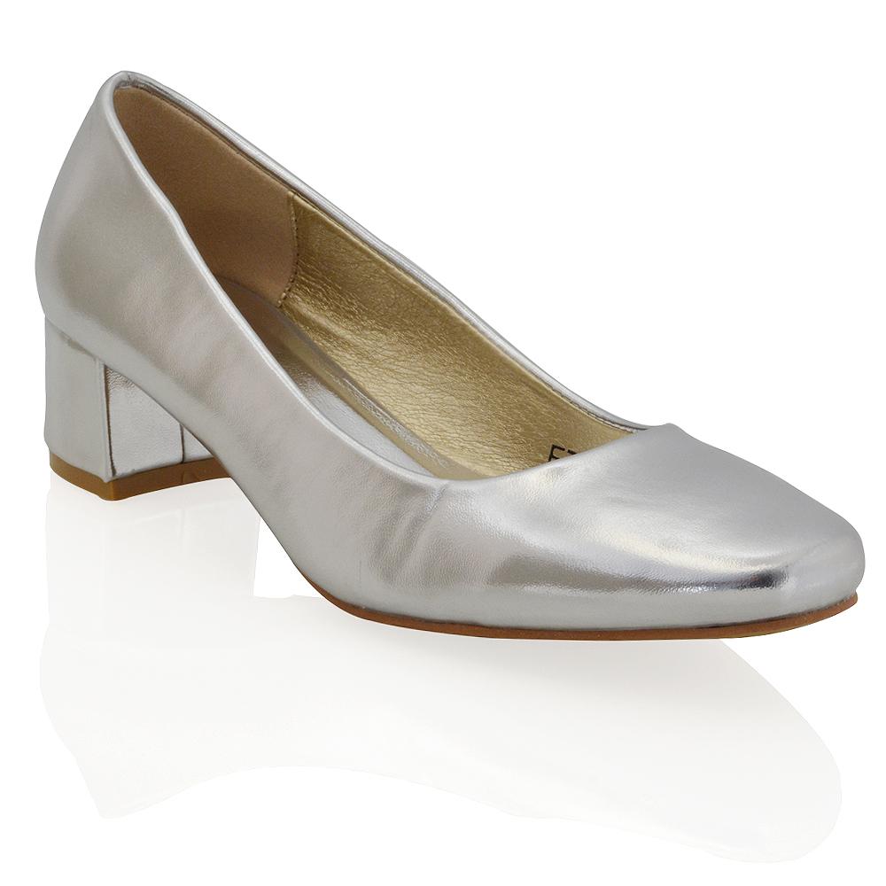 Gold Court Shoes Block Heel