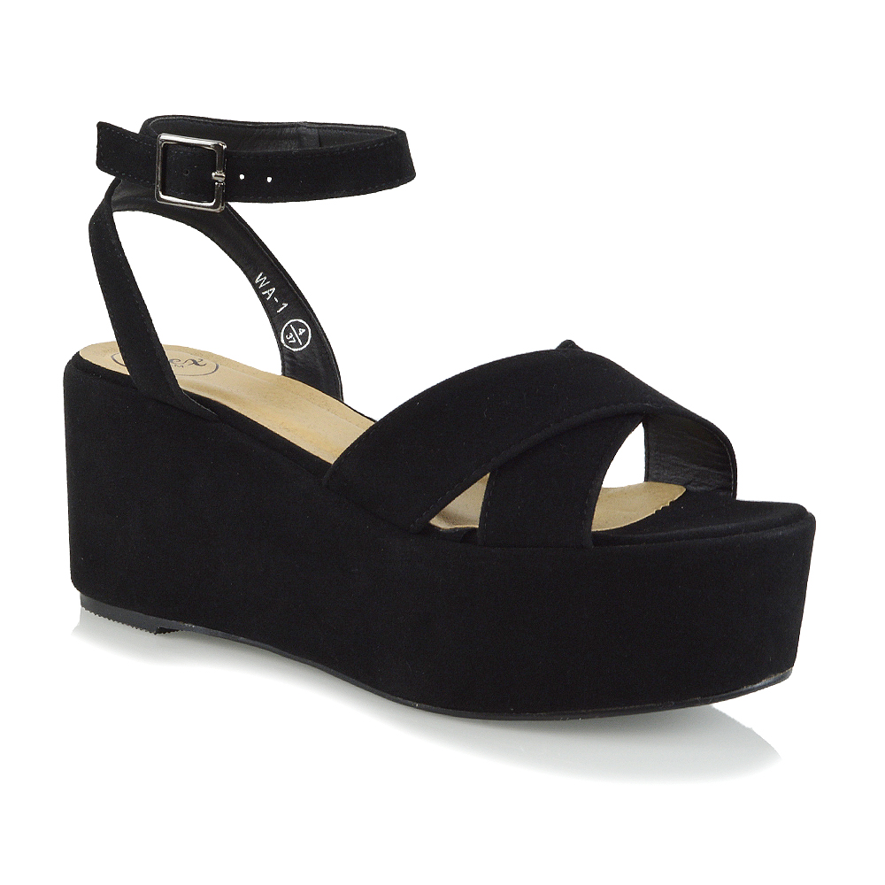 927e05bea Womens Strappy Wedge Heel Sandals Ladies Platform Shoes Size 3-8 | eBay
